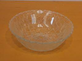 """Vintage Clear Glass Serving Bowl 9"""" Basket Weav... - $8.00"""