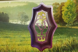 16 in stainless steel rasp/pur themed Butterfly USA 3D hanging yard wind spinner - $35.00