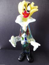 VTG Murano Italy Art Glass  Multi Color Red Blue Clear Clown Figurine - $51.48