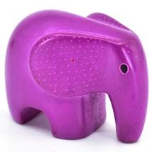 Crafts Caravan Hand Carved Soapstone Fuchsia Baby Elephant Figurine Made Kenya