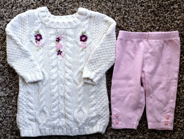 Girl's Size 3-6 M Months 2 Pc Cream Piper & Posie Floral Sweater Dress, ... - $26.00
