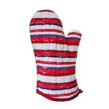 PANDA SUPERSTORE Stripe Thicken Cotton Heat Insulation Gloves/Oven Mitts,RED (2-