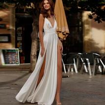 Spaghetti Straps Beach Chiffon V-neck Double High Split Wedding Gown image 2