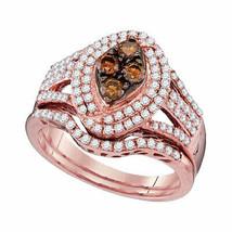 10kt Rose Gold Round Brown Diamond Bridal Wedding Engagement Ring Set 1.... - €958,76 EUR