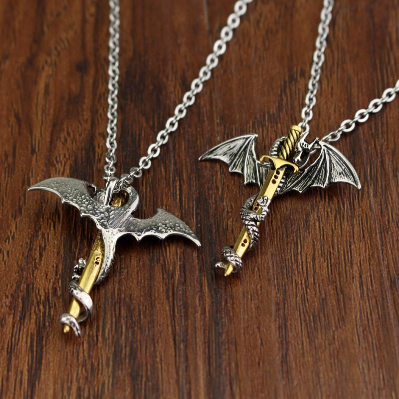 HANCHANG Vintage, Gothic Sword & Dragon Theme Unisex Necklace / Pendant image 4