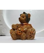 Halloween Teddy Bear Resin Figurine with Baby Ted Doll jack-o-lantern pu... - $19.80
