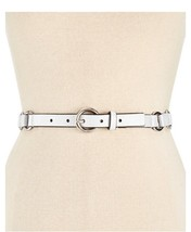 NWT MICHAEL KORS WOMEN'S SKINNY LEATHER RING BELT WHITE - $28.04