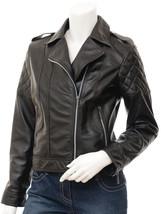 QASTAN Women's New Fabulous Black Biker Sheep Leather Jacket QWJ21 - $149.00+