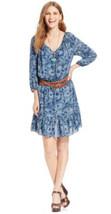 American Living By Ralph Lauren 3/4 Sleeve Scoop Neck Peasant Blue Dress... - $28.99