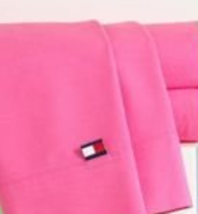 TOMMY HILFIGER SOLID QUEEN FLAT SHEET 200TC 100% RING SPUN COTTON PINK NEW  - $49.95