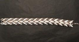 Vintage Crown Trifari Silver Tone Leaf Bracelet Art Deco Style Signed Jewelry - $25.49