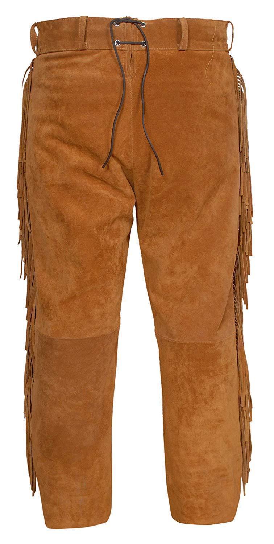 Men's New Native American Buckskin Brown Buffalo Suede Leather Shirt & Pant WS21