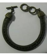 vintage faceted prong-set Amber Color rhinestone encased mesh chain brac... - $74.25