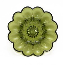 Vintage Green Glass Deviled Egg Serving Dish Tray Cut Glass Star - $19.31