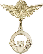 14K Gold Filled Baby Badge with Claddagh Charm Pin 7/8 X 3/4 inch - $83.48