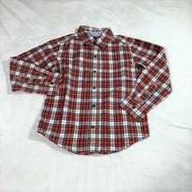 Carter's Boys Toddler Red Plaids Button Down Casual Shirt Size 4 EUC - $7.92