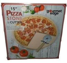 15 Inch Round Heavy Duty Ceramic Pizza  Baking Stone & Pizza Cutter - $13.09