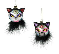 GALLERIE II SET OF 2 DAY OF THE DEAD CAT GLASS BALL HALLOWEEN XMAS ORNAM... - $24.88