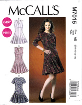 McCall's M7015 Petite Misses Dresses Sewing Pattern Sizes 6-8-10-12-14 Easy Sew - $8.95