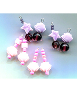 8 sea shell charms starfish bead drops lot sea life purple pink glass pl... - $2.50