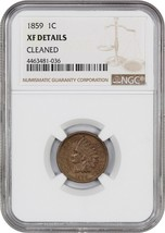 1859 1c NGC XF Details (Cleaned) - Indian Cent - $92.15