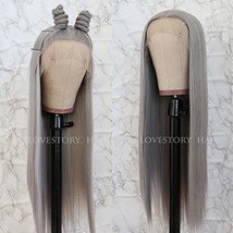 Lovestory Long Straight Synthetic Lace Front Wigs Heat Resistant Gray Wig Natura image 1