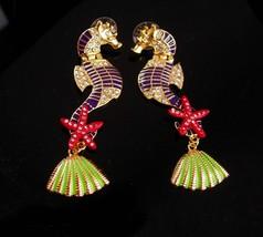 """3"""" seahorse earrings - sea goddess chandelier earrings - rhinestone pierced earr - $85.00"""