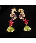 """3"""" seahorse earrings - sea goddess chandelier earrings - rhinestone pier... - $85.00"""