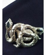 """VINTAGE GOLDEN PIN BROOCH ENAMELLED ENTWINED SNAKES 2"""" x 1.5"""" - $35.00"""