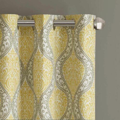 Set 2 Yellow Taupe Damask Curtains Panels Drapes Pair 63