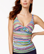 NEW Anne Cole Bra-Sized Striped Underwire Tankini Swim Top size 34 B/C - $28.70