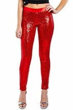 Women's Shiny Holiday Sequin Leggings (Red, XX-Large) XX-Large, Red  - $62.36