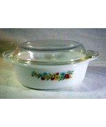 Fire King Wild Flowers 1 1/2 qt Oval Baking Dish With Lid #487 - $8.81