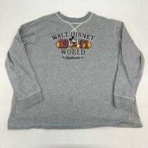 Walt Disney World Mickey Mouse T Shirt Men's 2XL XXL Long Sleeve Gray Cotton - $17.99