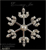 Signed Eisenberg Ice Faux Pearl and Clear Rhinestone Snowflake Pin (#J1271) - $49.90 CAD