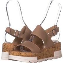 Steve Madden Brenda Slingback Platform Sandals 438, Natural Leather, 8.5 US - $25.91