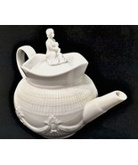 Godinger & Co Tea Pot Off White Mother Child on Lid 7.5 inches Tall Teapot - $31.68