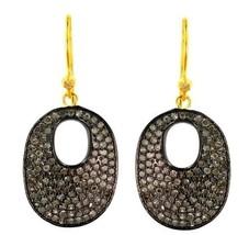 925 Silver Studded Diamond 14k Gold DISC Dangle Hook Earrings Retro Vintage Look - $554.40