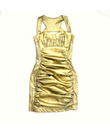 CACHE Metallic Gold Gathered Structured Ruffle Pleated Open Back Formal ... - $19.79