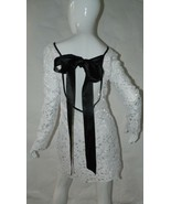 Designer Dress Lace White with Black Ribbon Tie Made in Australia Size S... - $55.85