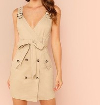 Deep V Neck Adjustable Strap Button Pocket Side Belted Shift Dress Cotto... - $61.99
