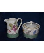 "Wedgwood ""SARAH'S GARDEN""  Milk/Cream Jug + Sugar Bowl from England Disc... - $43.15"
