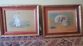 Two Vintage Original Oil Paintings Pets Cat mom baby Dogs. Signed. Gold ... - $24.55