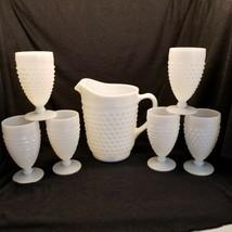 VTG Anchor Hocking Hobnail Milk Glass Picture & 6 Goblets in Original Box - $46.36