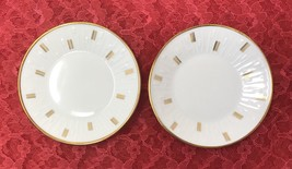 2 Embossed Butter Pat Plates Forest Wunsiedel Bavaria White w/ Gold Line... - $7.18