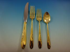 Rose Spray Gold by Easterling Sterling Silver Flatware Service 12 Set Vermeil - $3,600.00