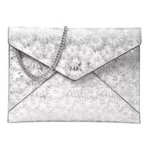 NWT Michael Kors Barbara Floral Medium Soft Envelope Clutch White/ Silve... - $116.42