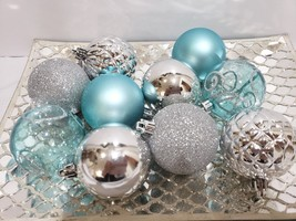 "10 Coastal Blue Silver Beach Nautical Christmas Glitter Ball Ornaments 2.5"" - $13.99"