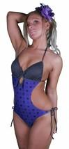 Famous Stars & Straps Mujer Púrpura Negro Genrose Júnior Monokini Bañador Nwt image 2