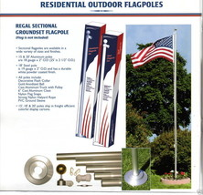 20 FT ALUMINUM FLAGPOLE WITH TWO 3'x5' U.S. FLAGS & 2 U.S. ANTENNA FLAGS... - $272.00